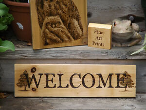 HANDMADE WOODBURNED WELCOME SIGN- GREAT FOR HOME OR COTTAGE