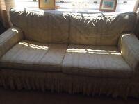 Laura Ashley lemon/cream patterned sofa