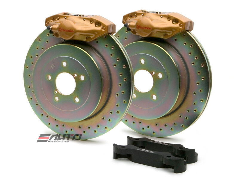Brembo Rear Gt Brake 2pot Caliper Gold 316x20 Drill Disc For Impreza Wrx 02-07