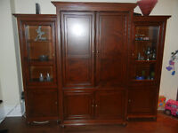 Solid Wood 3-piece Display Cabinet with TV Cabinet