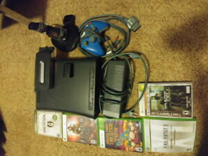 Xbox 360 with games, 2 hard drives, rechargeable controller,