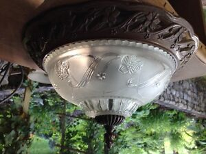 Bronze, Etched Glass Ceiling Light