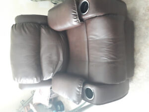 Brown Leather Recliner;powered for reclining