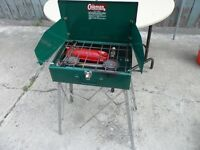 Coleman Gas Camp Stove with stand.  $40.