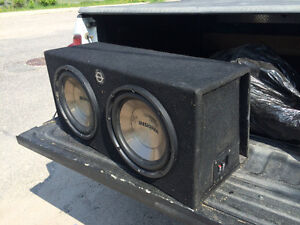 "Two 12"" subs in a base works box"