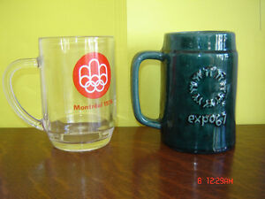 Nostalgic Montreal Expo 67 and Montreal Olympics Beer Mugs