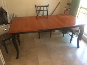 Solid wood dining table and 6 chairs- negotiable