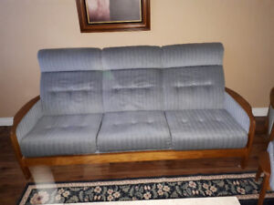Teak Couch and matching Chair and Foot Stool