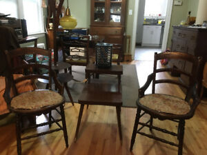 Antique Parlour Chairs and Vintage End Table and Disco Light