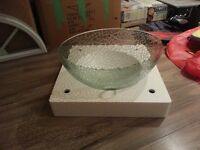 Unique Cracked Glass Vessel Sink with Faucet and Drain Assembly