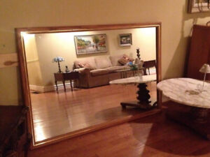 Large mirror with solid oak frame.