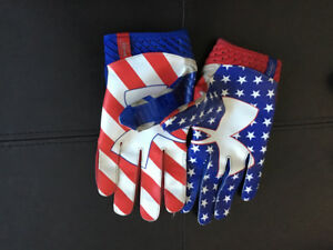 Nike and Under Armour football gloves