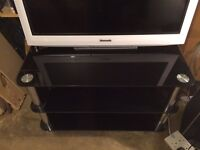 X3 Tier Black Glass TV Stand