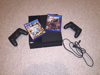PS4, 2 Controllers, GTA 5, and Call of Duty Advanced Warfare