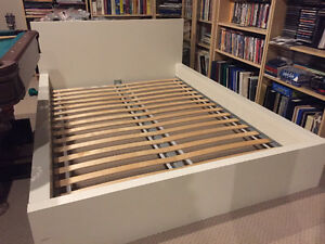 white double IKEA bed frame
