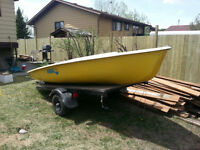 Mistral sailboat and trailer
