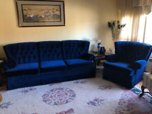 vintage blue velour couch and chair