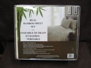 real bamboo king size cream color bedsheet set. new. firm.