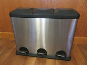 Stainless Steel triple garbage can