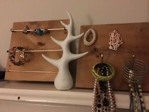 A variety of jewelry and jewelry holders