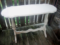 Antique white hallway/foyer table - nice carvings on top