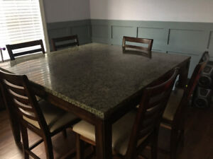 Pub height dinning table and chairs