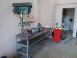 Tool Bench c/ drill press and Bench grinder Heavy duty