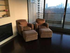 2 Tub Chairs with Matching Ottomans