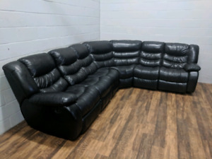 (Free Delivery) - Black leather sectional sofa with 2 recliners