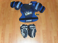 HOCKEY CHEST PROTECTOR, GLOVES, SHIN GUARDS