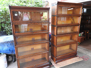 """""""twin"""" antique barrister bookcases 5 glass levels high"""