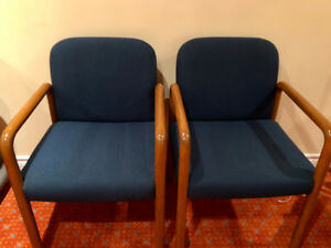 TWO navy blue and solid wood office chairs. LIKE NEW!!!