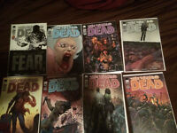 The walking dead comics, 8 different variants of issue 100.