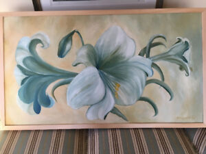 Gorgeous oil on board of lilies