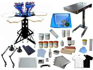 6 Color 6 Station Screen Printing Kit with Flash Dryer &Exposure/ Press Ink Materials 006962 Item number 006962