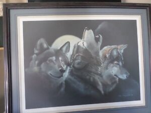 Large wolf print  framed