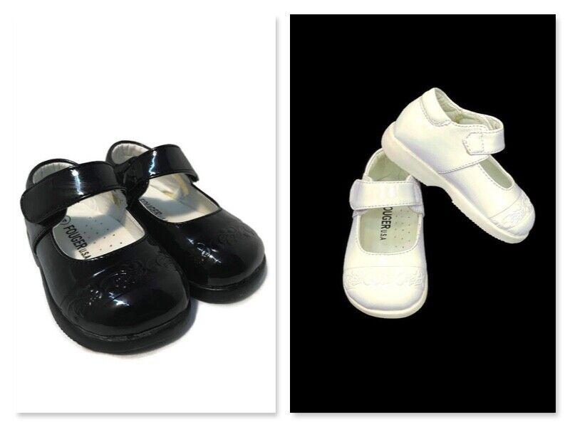Fouger Girls Shiny Black/White Formal Dress Shoes Wedding wi