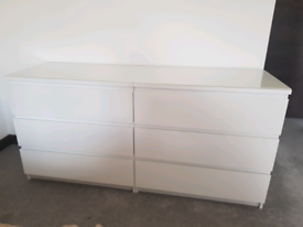 2 chest of 3 drawers with glass top - (IKEA MALM)