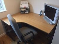 Left Hand Corner Desk & Drawers