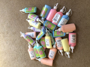 Fabric paint 25 bottles pink purple yellow blue peach