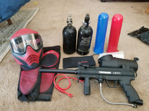 TippMan A5 Paintball Gun X 2 HPA tanks and some gear.