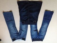 Two pairs maternity jeans and 1 skirt, all size 14