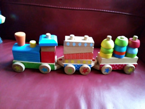 Wooden stacking blocks toddler train toy Great toy!!
