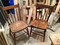 Matching set of antique solid wood chairs