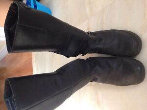 north face black leather boots