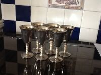 6 Silver Plated vintage wine goblets - made in Spain