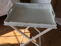 2 white shabby chic bedside trays.