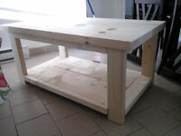 New coffee table made of solid wood