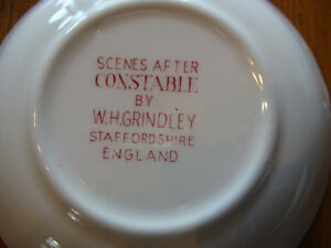 4 RED TRANSFERWARE COASTERS SCENES AFTER CONSTABLE BY GRINDLEY London Ontario image 3