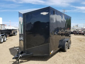 TAX IN! New Impact Trailers 7x14 v Nose Black out cargo trailer